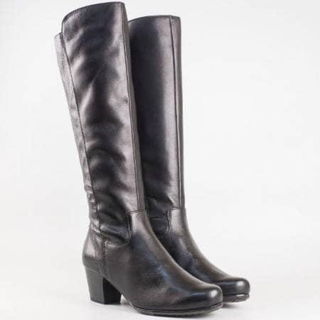 Дамски комфортни ботуши със сая изработена от висококачествена естествена и еко кожа на немския производител Jana в черен цвят 8825504ch