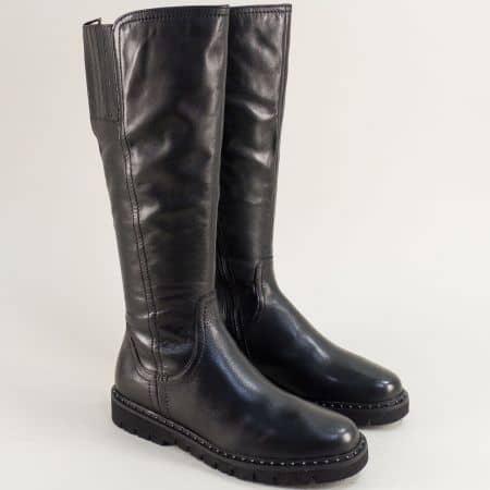Черни дамски ботуши от естествена кожа Jana 825508ch