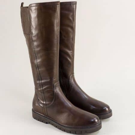 Тъмно кафяви дамски ботуши от естествена кожа- JANA 825508kk