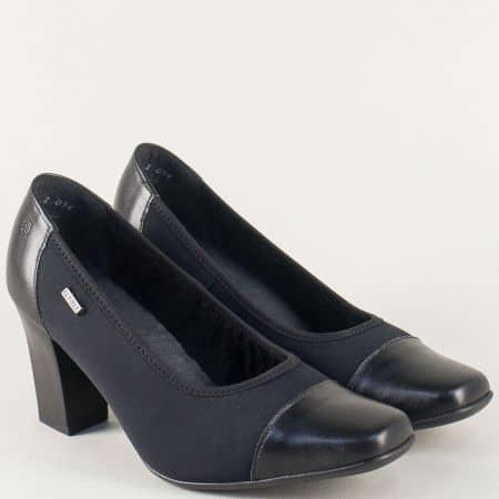 Черни дамски обувки на висок ток с кожена стелка 82911ch