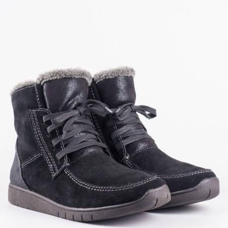 Дамски боти от естествен велур на немската марка Jana в черен цвят 826214vch