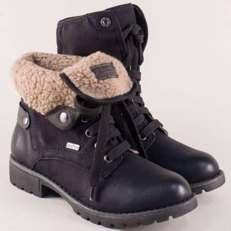 Дамски боти в черен цвят с връзки и топъл хастар- Jana 826216ch