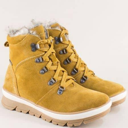 Жълти дамски боти на платформа от естествен велур- JANA 826230vj