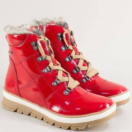 Дамски боти в червен цвят на платформа с грайфер- JANA 826246lchv