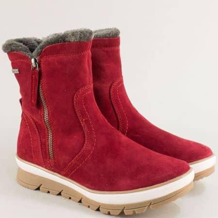 Червени дамски боти от естествен велур на платформа 826440vchv