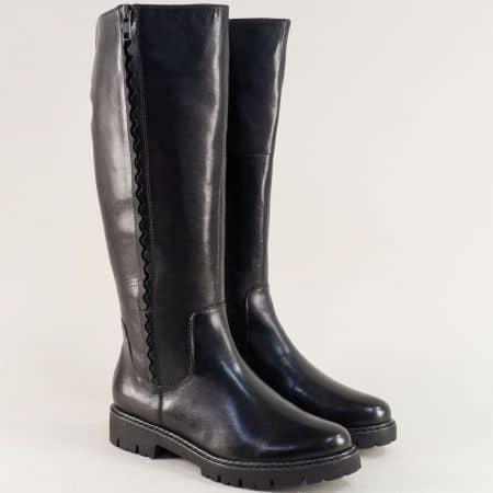 Черни дамски ботуши с грайфер от естествена кожа- Jana 826508ch