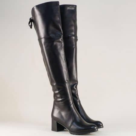Дамски ботуши, тип чизми в черен цвят на среден ток 82660833ch