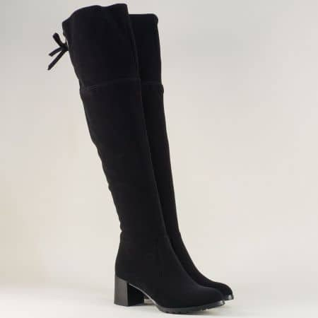 Дамски ботуши над коляното на среден ток в черен цвят 82660834nch