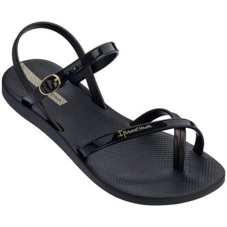 Равни дамски сандали с лента между пръста в черен цвят 8268220766