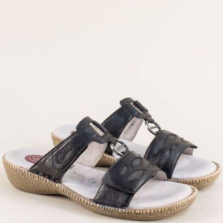 Черни дамски чехли от естествена кожа с Memory пяна 827111ch