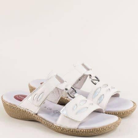 Бели дамски чехли с две лепки и стелка с Memory пяна 827111mb