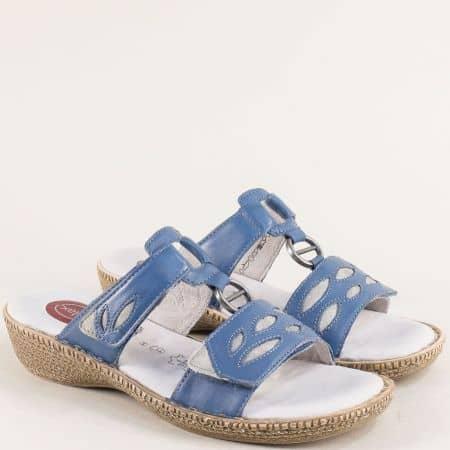 Сини дамски сандали от естествена кожа с Memory пяна 827111s