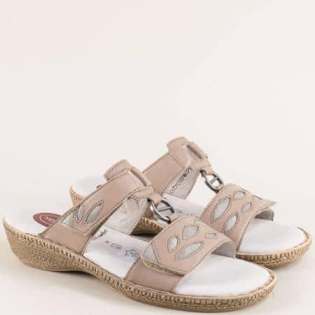 Бежови дамски чехли от естествена кожа с лепки- Jana 827111tbj