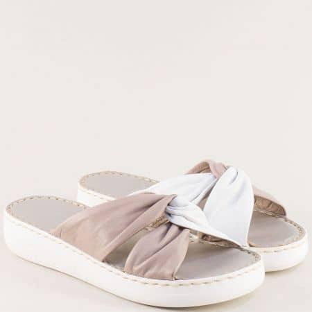Кожени дамски чехли на шито ходило в сиво и бяло 827119bsv