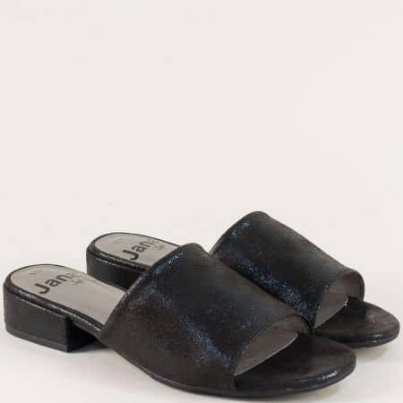 Дамски чехли на нисък ток в черен цвят с нежен блясък 827260ch