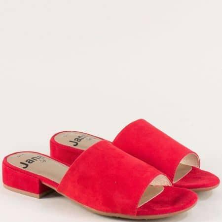Дамски чехли на нисък ток в червен цвят- Jana 827260chv