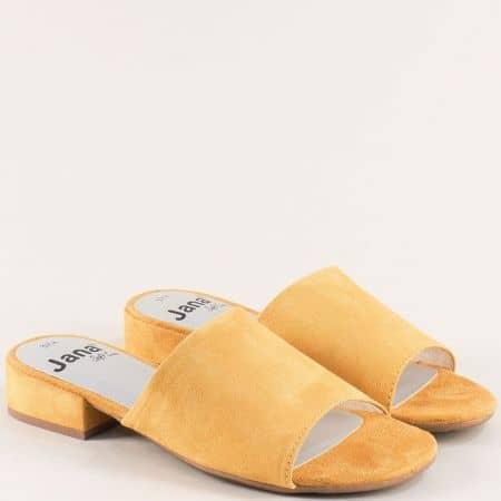 Дамски чехли на нисък ток в жълт цвят- Jana 827260j
