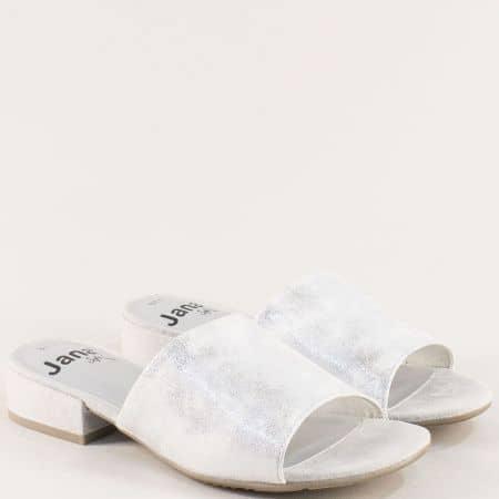 Сребристи дамски чехли с ластик на нисък ток- Jana 827260sr