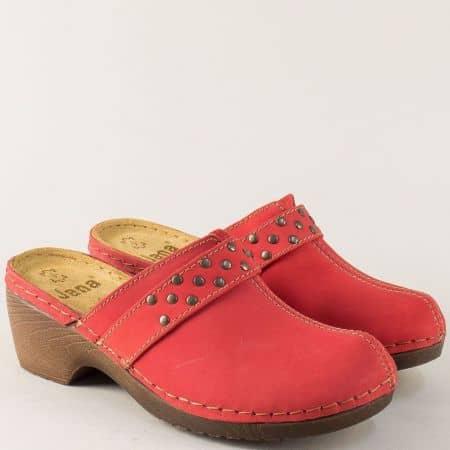 Кожено дамско сабо в червен цвят с велурена стелка- Jana 827304chv