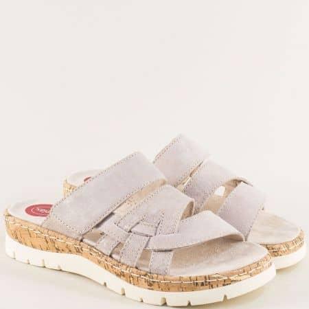 Бежови златисти дамски чехли на платформа от естествена кожа 827400bjzl