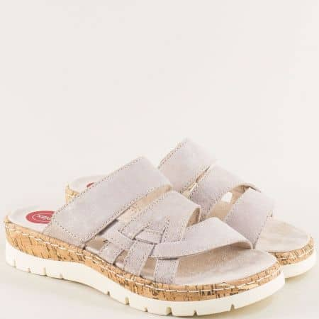 Бежови дамски чехли на платформа с ластик и лепка- Jana 827400bjzl