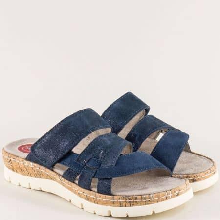 Сини дамски чехли на платформа от естествен велур- Jana  827400vs