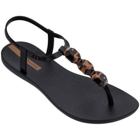 Черни дамски сандали с декорация на равно ходило- IPANEMA 8276020116