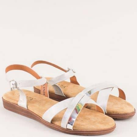 Дамски бели сандали на равно ходило 82763sr