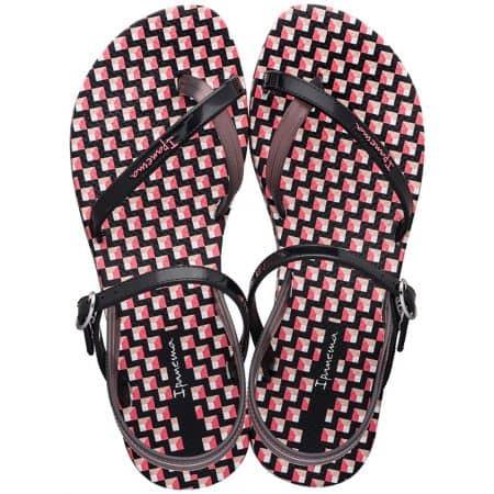 Дамски сандали на равно ходило в черно, розово и бяло- IPANEMA 8276624898