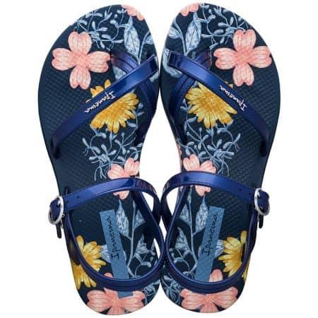 Детски сандали с флорален принт в синьо, розово и жълто- IPANEMA 8276720729