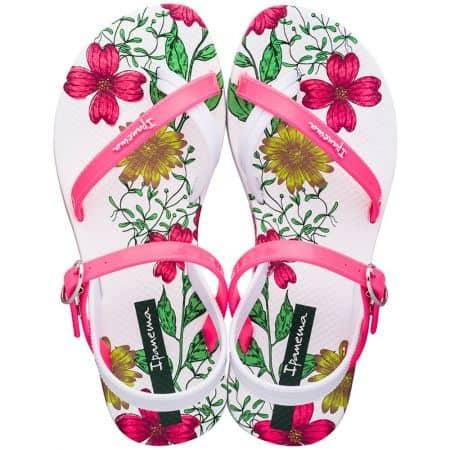 Детски джапанки в бяло и розово с флорален принт- IPANEMA 8276720755