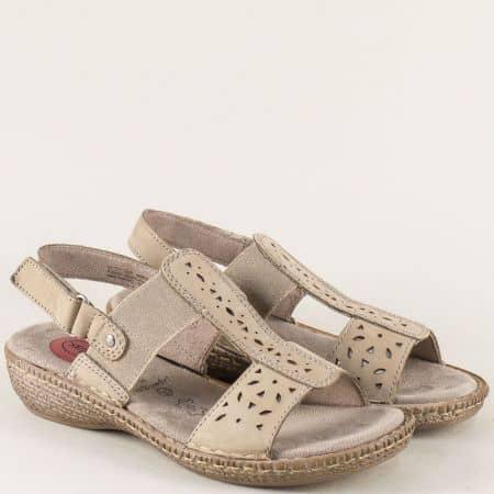 Анатомични дамски сандали на шито ходило в бежов цвят 828107bj