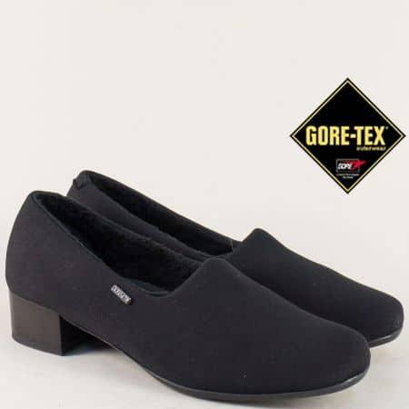 Черни дамски обувки на нисък ток с Gore- Tex мембрана 82811sch