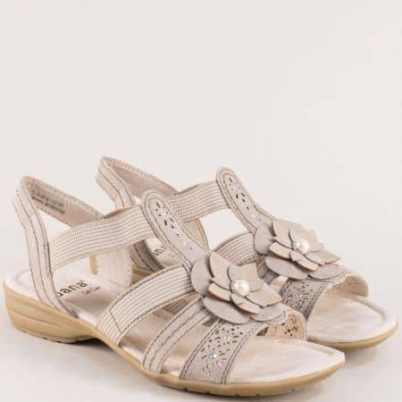 Дамски сандали в бежов цвят с ластик и декорация- Jana 828161bj