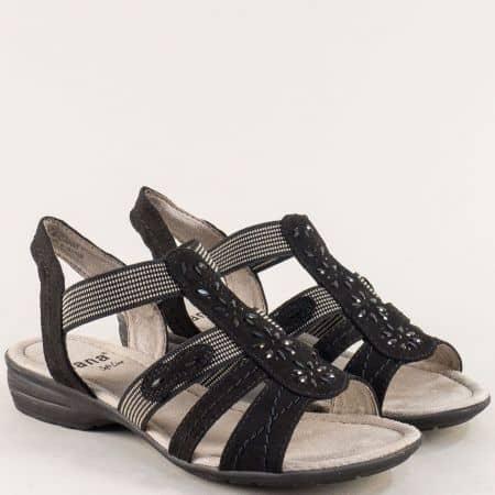 Дамски сандали в черен цвят с ластик и декорация- Jana 82816322ch