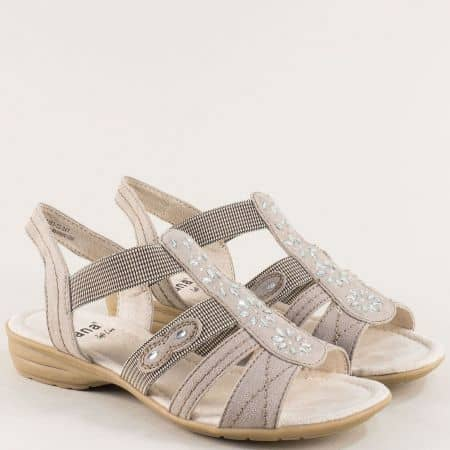 Дамски сандали с ластик в бежов цвят с декорация- Jana 82816322tbj