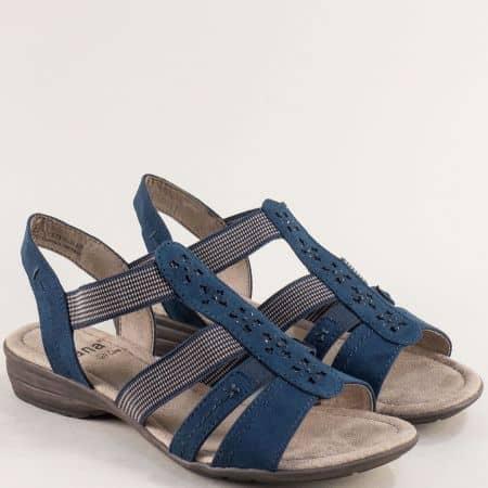 Дамски сандали с ластик в син цвят на равно ходило-  JANA 82816324vs