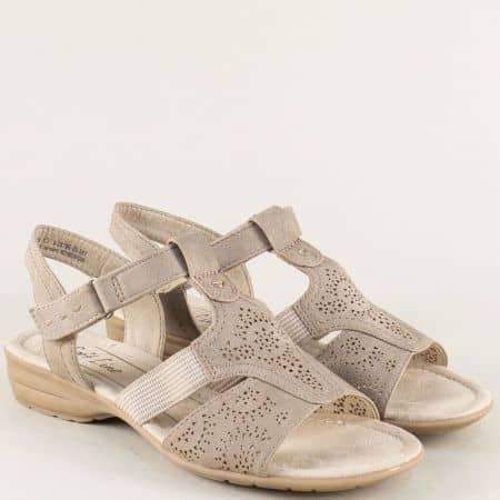 Анатомични дамски сандали на нисък ток в бежов цвят 828166bj