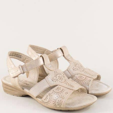Златисти дамски сандали с велкро лента и перфорация 828166zl