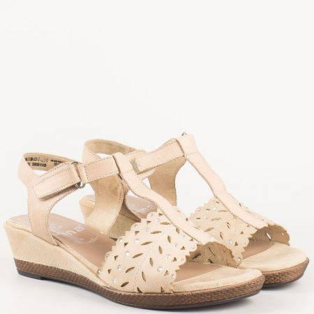 Немски дамски сандали на клин ходило с лепка от бежова естествена кожа с перфорация и камъни- Jana  828202bj