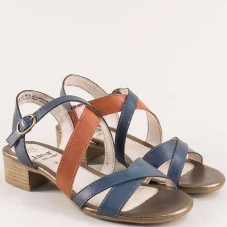 Сини дамски сандали на нисък ток от кожа s.Oliver 828256s
