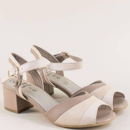 Бежови дамски сандали на среден ток с Flex- Comfort 828300bj