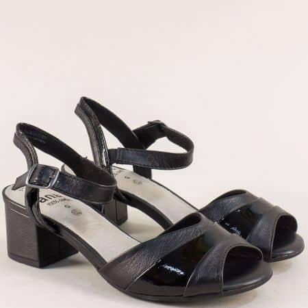 Дамски сандали в черен цвят на среден ток- Jana 828300ch