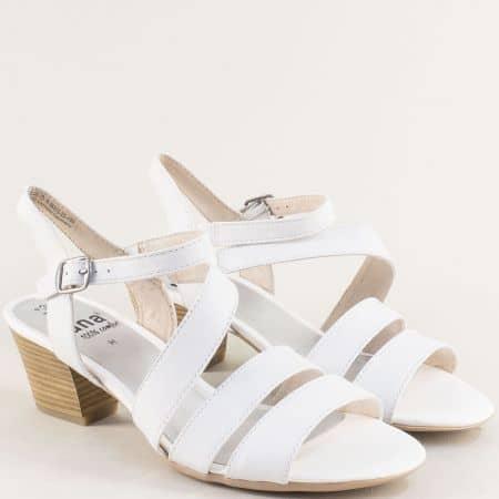Бели дамски сандали на среден ток от естествена кожа 828312b
