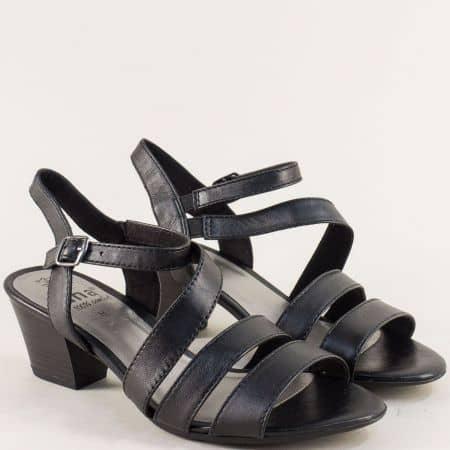 Кожени дамски сандали на среден ток в черен цвят- Jana 828312ch