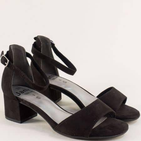 Черни дамски сандали със затворена пета и среден ток 828314vch