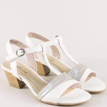 Бели дамски сандали с лепка на среден ток- Jana 828360b