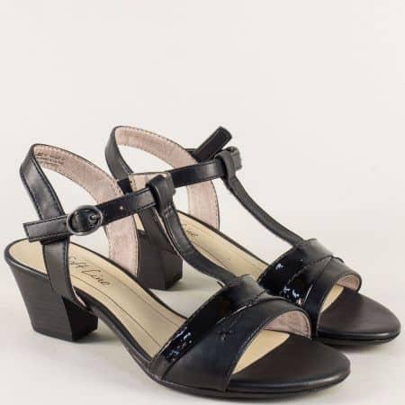 Немски дамски сандали на среден ток в черен цвят 828360ch
