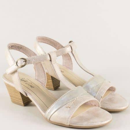 Златни дамски сандали на среден ток с лепка- Jana 828360zl