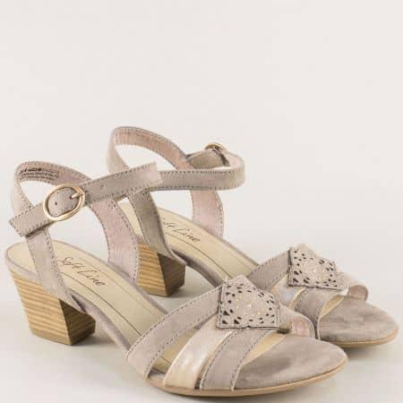 Дамски сандали с лепка на среден ток в бежов цвят- Jana 828361vbj